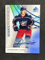 2019-20 UPPER DECK SP GAME USED ALEXANDRE TEXIER AUTHENTIC ROOKIE AUTO BLUE #144