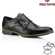 Mens Red Tape Leather Shoes Smart Office Wedding Brogue Formal Monk Strap Shoes
