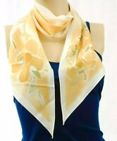 "VINTAGE SCARF Veresa by Vera Neumann Olive Green Tan Cream Floral 55"" Rectangle"