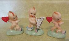 3 Vintage Napco Kewpie Cherub Angel Figurines with Harp & Hearts