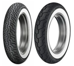 Dunlop Harley-Davidson D402 Wide White Wall MT90B16 Front & Rear Tires FLH/T/ST