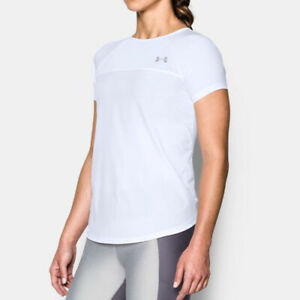 Under Armour Accelerate Fitted Tee White Short Sleeved Gym Fitness T shirt