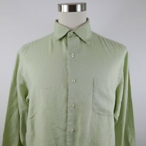 Brooks Brothers Sports Mens Linen LS Button Down Olive Green Dress Shirt Large