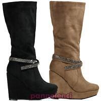 Stivaletti donna stivale stivali scamosciati strass scarpe zeppa nuovi DZX1108