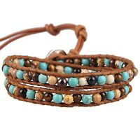 KELITCH Picture Jasper Turquoise 2 wrap bracelet Handmade Cuff Bracelet Jewelry