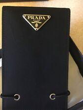 PRADA New and Boxed Black Leather + Nylon flip Top Wallet Pad with Prada Pencil