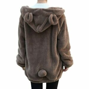 Fashion Little Bear Bunny with Ears and Tail Cartoon Plush Coat Hooded Sweater