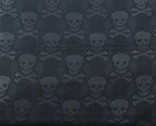 NEW! Betsey Johnson 4 Pc Queen Embossed Sheet Set Black Skulls 100% Microfiber
