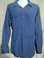 Columbia Omni Shade Mens XL Navy Blue Long Sleeve Vented Fishing Hiking Shirt
