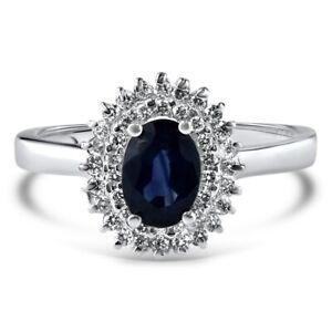 Certified 1.60cttw Blue sapphire 0.75cttw Diamond 14KT White Gold Ring