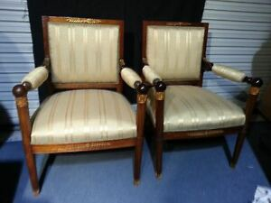 Empire arm chairs French gold gild dore bronze mahogany sphere 19th century pair