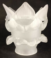 """New Satin Crystal Etched Glass Rose Petal Fixture Lamp Shade 2 1/4"""" Fitter FS547"""