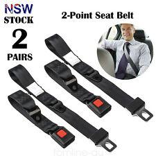 2 Sets Adjustable 2 Point Seat Belt Lap Non-retractable Safety Belt Black