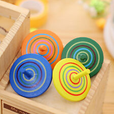 2X Wooden Gyro Spinning Top Peg-Top Cartoon Multicolor Kids Educational Toys LWY