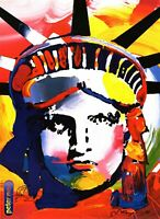 PETER MAX POSTER -  LIBERTY HEAD PRINT SIGNED WITH DOODLE-18X  24