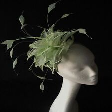 Pale Lime Green Sinamay and  Feather Fascinator for Weddings, Races and Proms