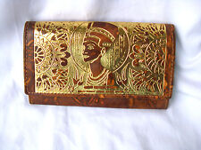 Egyptian Camel Leather Women Brown Wallet Purse Nefertiti Gold Embossed 7.75""
