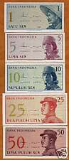 Indonesia Complete Fractional Set 1;5;10;25;50 Picks 90;91;92;93;94, 1964 UNC