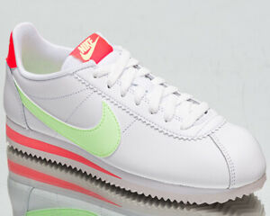 Nike Classic Cortez Leather Women's White Barely Volt Lifestyle Sneakers Shoes