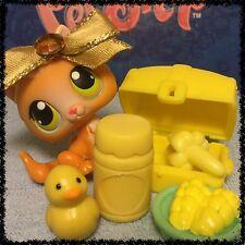 Littlest Pet Shop SMALL ORANGE BABY KITTEN GREEN/YELLOW EYES #86 W/ ACCESSORIES