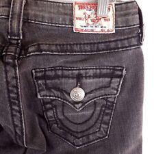 True Religion Denim Jeans Twist Flare Joey Big T Denim Black Gray Womens 26 x 33