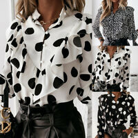 ❤️ Womens Long Sleeve Button Ruffled T Shirt Casual Ladies Office OL Blouse Tops
