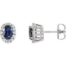 Zafiro & 1/3ct. Tw. Diamante Pendientes en 14k ORO BLANCO