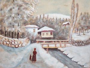 Winter landscape village river vintage gouache painting