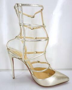 Christian Louboutin Kadreyana Sandal Size 39 Gold Leather Caged