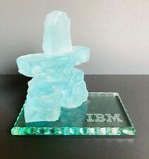 RARE IBM PROMO ADVERTISING VINTAGE GLASS PAPERWEIGHT SCULPTURE BUILDING BLOCKS