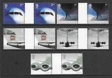 GB QEII #2284-2288 2002 JET AVIATION SET GUTTER PAIRS U/MINT VF CV £17