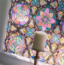 1.5m x 67.5cm LANCASTER STAINED GLASS WINDOW STATIC CLING DCFIX WRAP VINYL FILM
