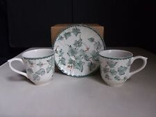 Barratts England Country Vine (2) Cups & (1) Saucer Set Green Ivy Leaves Swirl