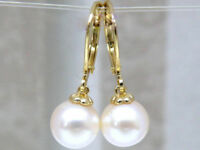EXCELLENT 7-8MM AAA+++ GRADE WHITE AKOYA PEARL DANGLE EARRING 14K GOLD