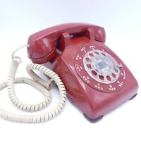 Bell Western Electric Rotary Dial Cherry Red Phone Vintage 1980s Desk Telephone