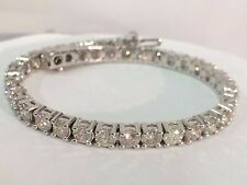 11.50 ct ROUND CUT DIAMOND TENNIS BRACELET 14K WHITE GOLD F VVS2 QUALITY