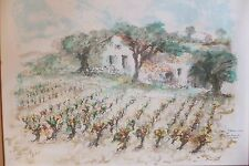 Urbain Huchet Lithographie originale Vignoble Vignes Raisins Vineyard Wine