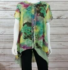 Simply Couture Womens Chiffon Tunic Size 1XL Hi-Low Floral Double Layer Pullover
