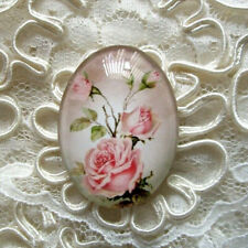 Soft Pink Roses 30X40mm Glitter Unset Handmade Glass Art Bubble Cameo Cabochon