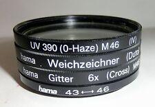 Foto-Filter M46, 4 Stück 1x UV390, 1x Weichzeichner, 1xGitter, 1xAdapter43/46