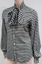 RALPH LAUREN Black & Cream Silk Blend Tie Neck Long Sleeve Blouse Shirt Top UK12