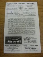 14/09/1963 Tooting And Mitcham United v Corinthian Casuals  (Four Pages, Score N