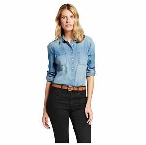 Womens Denim Favorite Button Up Long Sleeve Shirt Indigo Size L - Merona™