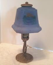 1920s Arts & Crafts Boudoir Table Lamp Reverse Painted Blue Glass Shade
