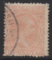 Spain - 1889, 10p Red stamp - F/U - SG 288