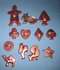 VTG Lot 12 Cookie Cutters Copper/Aluminum Suit of cards/Camel/Scottie Dog Christ