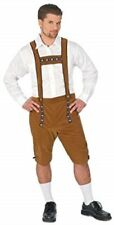 German Lederhosen Costume Men's Brown Velour Shorts W/ Attached Suspender L/XL
