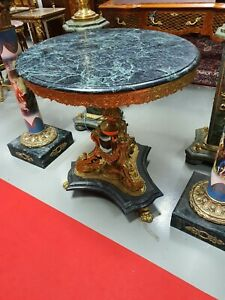 TABLE LOUIS XIV STYLE COFFEE TABLE WITH MARBLE #MB12