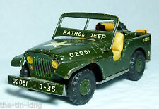 TIN PLATE FRICTION DRIVE JEEP SHOWA TOYS JAPAN C1950S UNDER SEAT MACHINE GUN