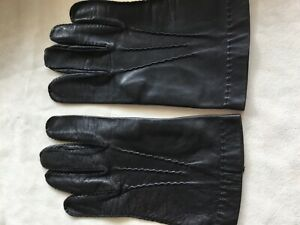 Men's Gloves Soft Black 100% Genuine Leather. Size L, Unlined.